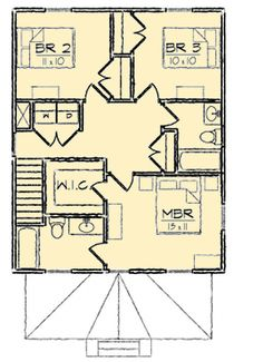 Four Square Classic - floor plan - Floor Square House Plans, Narrow Lot House Plans, Small Floor Plans, Two Story House Plans, Two Story Homes, Architectural Design House Plans, Architecture Design, U Shaped Kitchen, Gable Roof