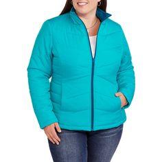 70fe96034d2 Faded Glory - Women s Plus-Size Lightweight Bubble Jacket - Walmart.com