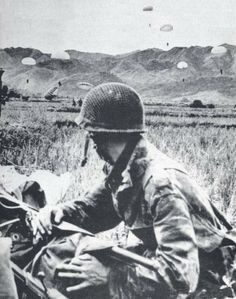 French Foreign Legion reinforcements parachute into Dien Bien Phu on March 16, 1954 -  two weeks before the massive Communist asault on the main camp