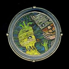 Cynthia Toops: Bird and Catman, Brooch in sterling silver and polymer micro-mosaic. Sterling silver by Chuck Domitrovich. Approximately 1.25...