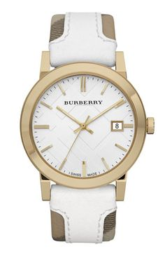 Burberry check leather stamped watch. $495. Looking for a new watch for spring/summer?