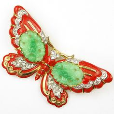 Trifari 'Alfred Philippe' Jade and Red Enamel Ming Butterfly Pin - 1942 patent