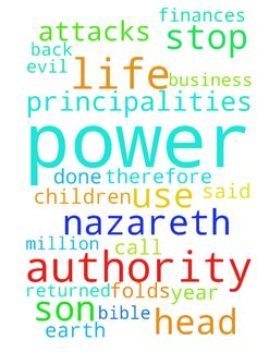 Jesus Christ of Nazareth head of powers and principalities -  Jesus Christ of Nazareth the only son of God said in the Bible that he is the head of powers and principalities therefore i call upon Jesus Christ our lord to use his authority and power to stop any Evil attacks on my life, life of my Wife and my Children in Jesus name. Amen. Father let your son Jesus christ use his authority and power to stop attacks on my finances and business and let all that have been stolen from me by powers…