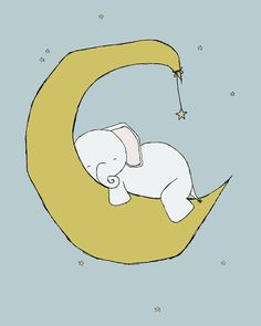 Elephant Nursery Art Elephants Moon and Stars Art Set Of