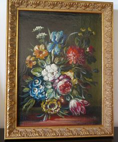 Small oil on canvas painting with flowers, framed, colorful bunch of flowers, 19th Century Flemish painting by TitoWanderlust on Etsy