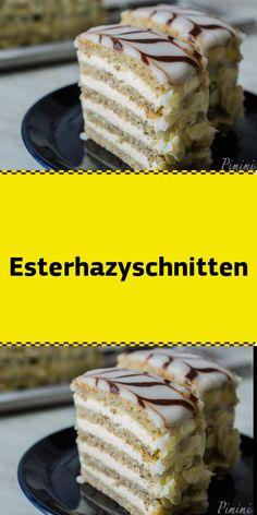 """Ich habe einige Zeit mit mir gehadert ob ich diesen Post veröffentlichen oder doch für mich behalten soll. Denn das Backen und auch das Schreiben waren mit einigen melancholischen Momenten verbunden. Heute habe ich für Euch furchtbar leckere Esterhazyschnitten. Das Rezept dazu habe ich aus dem Buch """"süße Träume aus Österreichs Backstuben"""". Dieses Buch habe ich dieses Jahr zu meinem Geburtstag von einem sehr lieben Freund unserer Familie geschenkt bekommen. Und dieser Freund ist nun tra.. Pudding Desserts, Tiramisu, Food And Drink, Cooking Recipes, Cheese, Breakfast, Ethnic Recipes, Napoleon Torte, Drinks"""