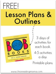 Lesson Plans and Outlines for BOB Books Set 3 | This Reading Mama