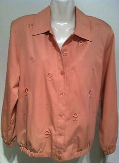 ALFRED DUNNER Spring Rose Embroidered Easy Care Jacket SZ 8 EUC