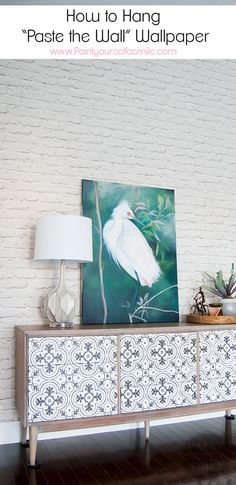 """White brick wallpaper! How to hang """"paste the wall"""" wallpaper & the big mistake I made."""