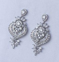 Crystal Chandelier Earrings Bridal Earrings CLIP ON by JamJewels1