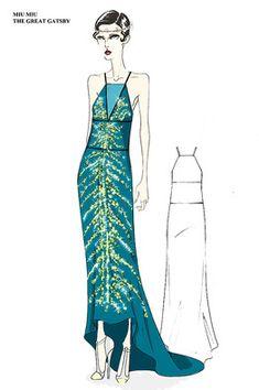 Un bosquejo de un vestido de 'El gran Gatsby', una colaboración entre la Sra. Martin y ...