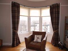 Voyage fabrics highland roman blind with purple glass - Modern bay window curtains ...
