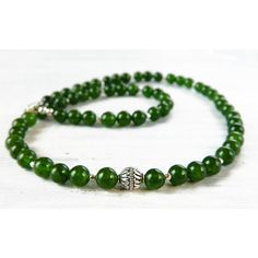 Green Jade Necklace Statement Moss Green Necklace Sterling Silver Dark... ($142) ❤ liked on Polyvore featuring jewelry, necklaces, jade bead necklace, green jade necklace, gem necklace, gemstone necklaces and emerald birthstone necklace