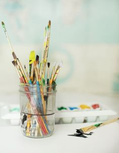 Make your own watercolors at home - Not the kind of watercolors I would use for an archival piece, but they're non-toxic and kid-friendly.