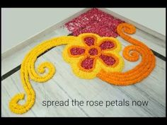 Home Decor Ideas : How to make rangoli with flowers? - YouTube Diwali Decorations, Indian Wedding Decorations, Festival Decorations, Flower Decorations, Corner Rangoli, Rangoli Ideas, Rangoli Patterns, Ganapati Decoration, Rangoli Colours