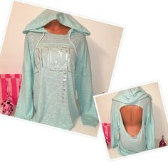 NEW PINK VS OPEN BACK KNIT HOODED PINK VICTORIA'S SECRET OPEN BACK  OPEN BACK KNIT  SWEATSHIRT HOODED SILVER LOGO IN THE FRONT , SO GORGEOUS!!!  COLOR BLUE TEAL  SIZE L  FASTSHIPPING!!!   Check out my other items! I am sure you will find something that you will love it! Thank you for watch!!!!! Be sure to add me to your favorites list! PINK Victoria's Secret Tops