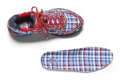 Boston Marathon 2016 Brooks running shoe Adrenaline GTS 16. Special edition. Nantucket theme with plaid. Red overlays for Men and Blue overlays for Women.