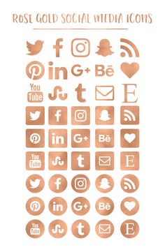 Copper Foil on Copper Glitter Social Media Icons.
