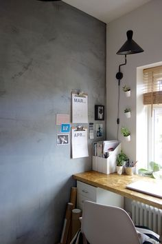 Concrete look bare plastered wall. With magnetic plaster. Perfect for play rooms, home offices, kitchens...  perfect for the industrial interiors lover.