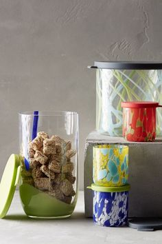 Painted Glass Food Storage Container - anthropologie.com