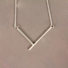 Right Angle Necklace Silver  by Studio DuArte