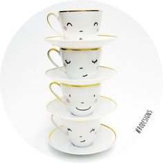 4 hand-printed happy faces cups by BodesignsSHOP on Etsy
