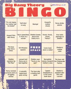 The Big Bang Theory | Community Post: 19 Awesome Bingo Cards To Play While Watching Your Favorite TV Shows