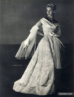 Jacques Fath 1953 Jewels Scemama, Pottier Fashion Photography Evening Gown