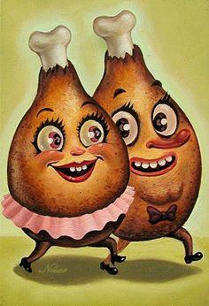 Impossível não ver o trabalho da Nuit Nouar e não ficar com fome. A artista de Los Angeles costuma retratar frutas, doces e vegetaisantropomorfizados com uma pegada bem retrô. A pintura de Nouar é divertida e traz um pouco do cinismo dos nossos costumes alimentícios. Adorei! Para segui-la: Site   Fanpage Espalhe por aí: Related