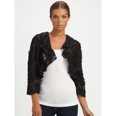 Ilana Wolf Ribbon Lace Bolero ($295) ❤ liked on Polyvore