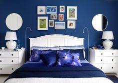 small bedroom ideas with full bed dark blue - Поиск в Google