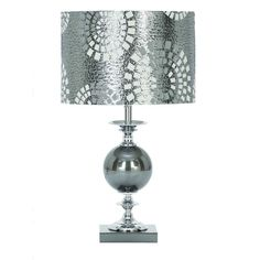 Benzara 40137 Silver Metal & Glass Lamp with Drum Shade  | eBay