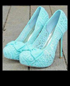 Mint blue cute high heels