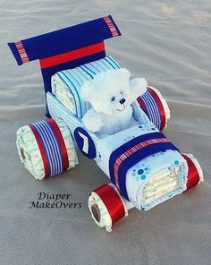 Race Car Diaper Cake Diaper Cake Unique Baby by DiaperMakeOvers #babygifts