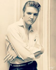 Elvis Presley natural blonde hair in late 1950's.