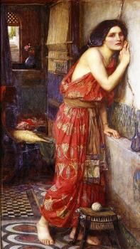 """""""Thisbe"""" (1909), by English artist - John William Waterhouse (1849-1917), Oil on canvas, 97 x 59 cm. (38.19 x 23.23 in.), Private collection. *Also known as """"The Listener""""."""