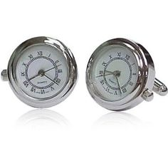 No excuses for being late now! Clock Cufflinks