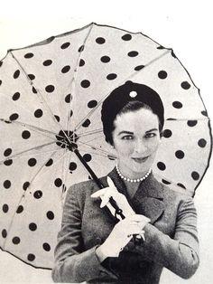 Polka dot umbrella, 1953.