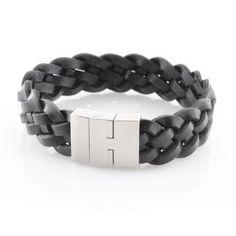 Schmuck-Juweliere.de - Armband Echt Leder schwarz 23cm - Edelstahl