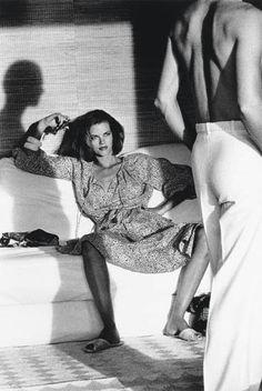 Woman (Model Lisa Taylor) Observing Man, Saint-Tropez - photo by Helmut Newton