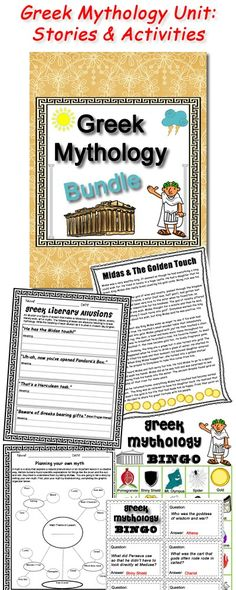 Common Core aligned Greek Mythology unit includes famous Greek myths re-written in a kid friendly format, worksheet activities & a full BINGO set!