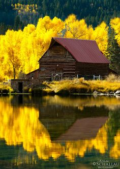Reflections of western life in autumn. Lake City, Colorado by Adam Schallau