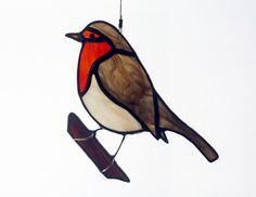 Robin Stained Glass Suncatcher Bird, European Robin by BerlinGlass