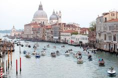 The armada: The Venetian waterways were filled with taxis taking the 90 guests to the luxu...