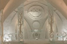 Hotel de Glace in Quebec. This is the ice chapel. Gorgeous!