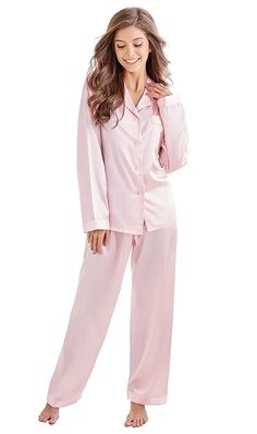 7d9b1c0505 Women s Classic Satin Pajama Set Sleepwear Loungewear - Light Pink -  CI11ZITFW3Z