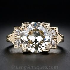 3.70 Carat European-Cut Diamond Ring