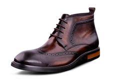 Retro alta superior genuíno couro de vaca homens botas de design de luxo rodada toe lace up moda carving mens vestido negócios ankle boots 44