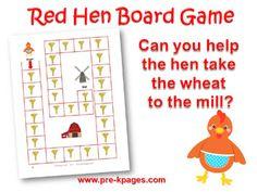 Printable Little Red Hen Board Game for preschool or kindergarten