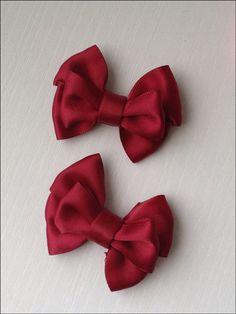 Christmas Burgundy satin bow hair clip set. Small by SayYouLove, $7.99